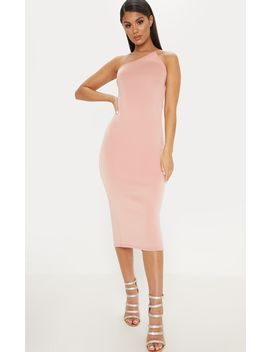 Dusty Pink Scuba Pointed Neck Midi Dress by Prettylittlething