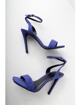 Meeko Royal Blue Suede Ankle Strap Heels by Lulu's