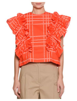 Short Sleeve Logo Print Ruffle Cotton Top by Msgm