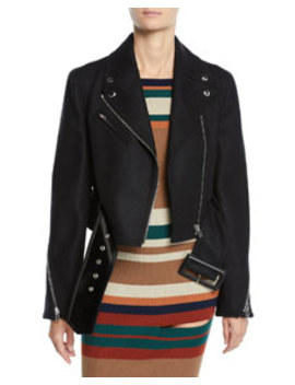 Cropped Stretch Wool Biker Jacket by Givenchy