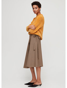Belle Skirt   Checkered, Wrap Midi Skirt by Wilfred