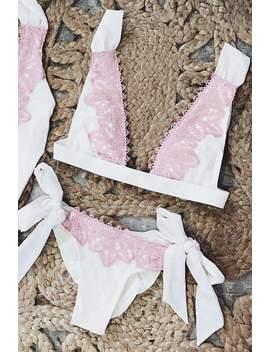 Pink Lace Patchwork 2 Pieces Bikini by Lupsona