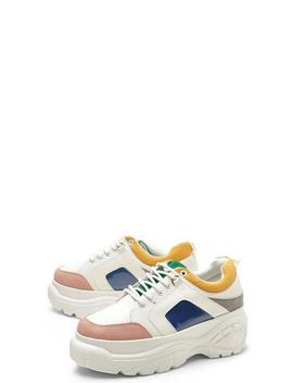 Colour Block Chunky Platform Trainers by Boohoo