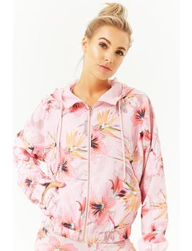 Active Tropical Floral Windbreaker Jacket by Forever 21