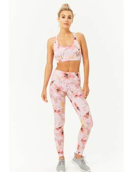 Active Tropical Floral Leggings by Forever 21