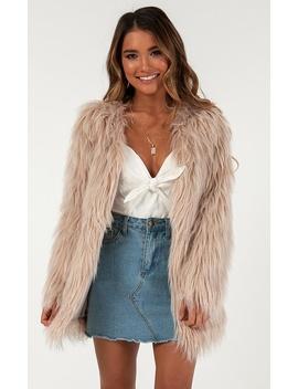 Empire State Faux Fur Jacket In Beige by Showpo Fashion