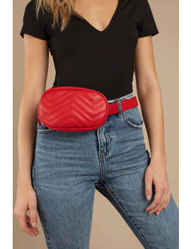 Kathryn Red Leather Belt Fanny Pack by Tobi