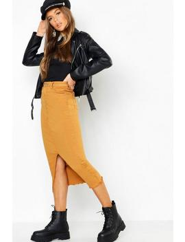 Split Front Stretch Denim Midi Skirt by Boohoo