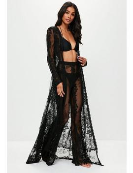 Black Premium Eyelash Lace Kimono by Missguided