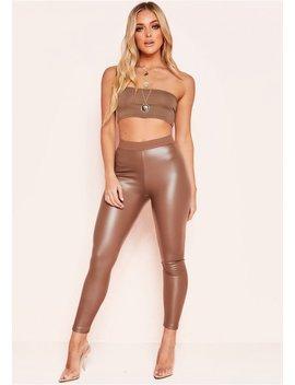 Jenny Beige Faux Leather Leggings by Missy Empire