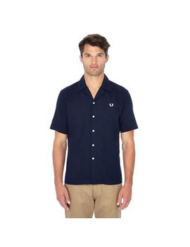 Fred Perry   Navy Pique Textured Short Sleeve Shirt by Fred Perry