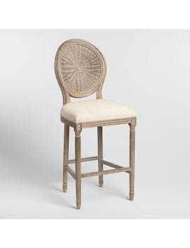 Natural Cane Round Back Paige Upholstered Barstool by World Market