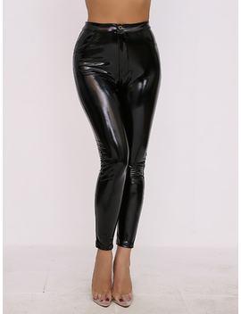 Joyfunear Faux Patent Skinny Pants by Sheinside