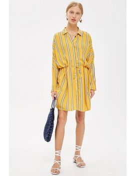Petite Stripe Drawstring Shirt Dress by Topshop