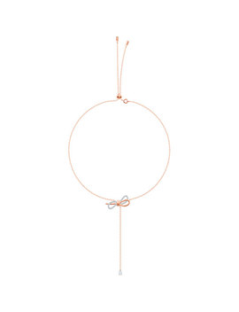 Lifelong Bow Y Necklace, White, Mixed Plating by Swarovski
