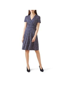 Hobbs   Blue Spotted 'darcie' V Neck Knee Length Wrap Dress by Hobbs