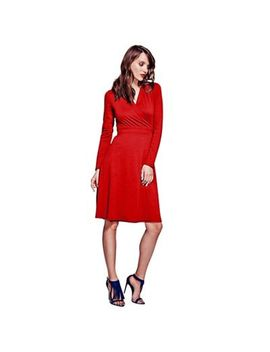 Hot Squash   Red Wrap Dress In Clever Fabric by Hot Squash