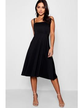 Boutique Tie Shoulder Midi Skater Dress by Boohoo