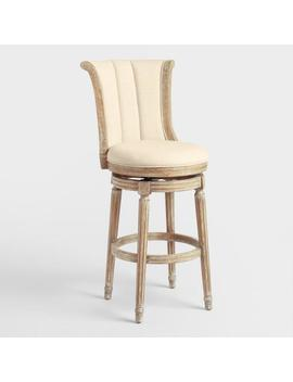 Linen Channel Back Swivel Barstool by World Market