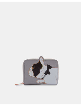 Cotton Dog Small Leather Zip Purse by Ted Baker