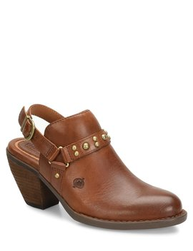 Pindo Leather Slingback Block Heel Clogs by Born