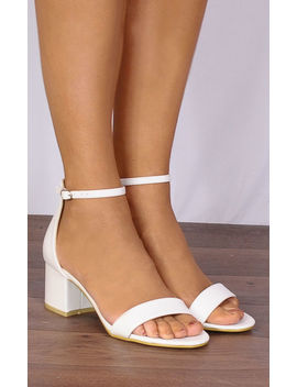 White Barely There Low Heeled Peep Toes Strappy Sandals by Shoe Closet