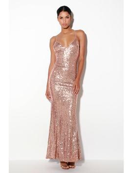 Esteem Rose Gold Sequin Backless Maxi Dress by Lulus