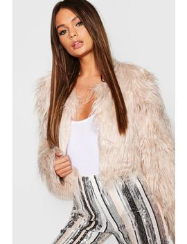 Crop Shaggy Faux Fur Coat by Boohoo