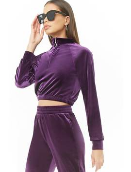 Velvet Cropped Pullover by Forever 21