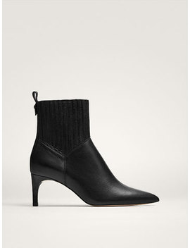 Black Stretch Heeled Ankle Boots by Massimo Dutti
