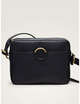 Black Nappa Crossbody Bag With Logo by Massimo Dutti