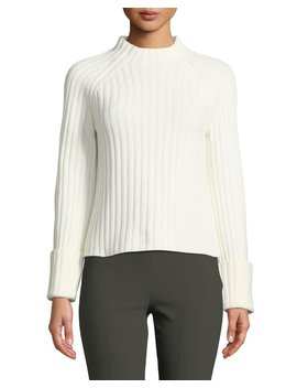 Cuffed Mock Neck Wool Cashmere Sweater by Vince