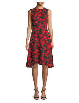 Anna Floral Print Silk A Line Dress by Milly