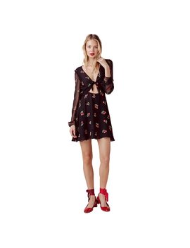 Hdy Haoduoyi Women Casual Cherry Print Cut Out Knot Bow Chiffon Dress Deep V Neck Long Sleeve High Waist A Line Mini Dress by Haoduoyi