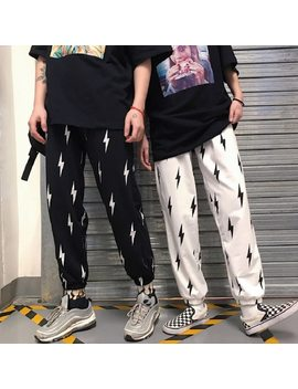 Harajuku Loose Lightning Pattern Unisex Pants Punk Black White High Street Long Trouser Women Pants by Lunoakvo