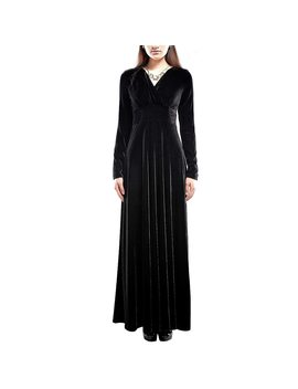 Plus Size Velvet Dresses Women Vintage Maxi Dress Solid Long Sleeved Casual V Neck Dress Female Autumn Women's Clothing by Lunoakvo