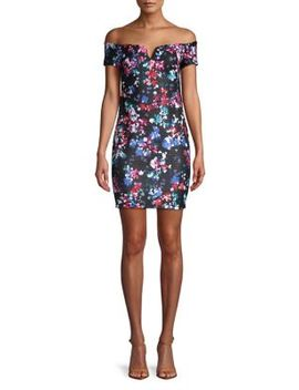 Floral Off The Shoulder Mini Dress by Guess