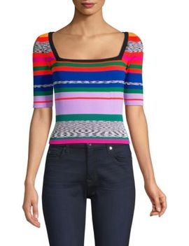 Space Dye Rainbow Stripe Sweater by Milly