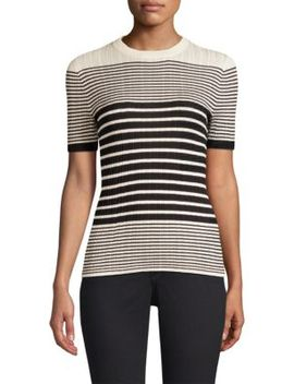 Striped Short Sleeve Ribbed Sweater by Atm Anthony Thomas Melillo