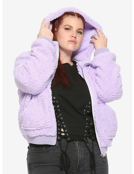 Lavender Fuzzy Girls Hoodie Plus Size by Hot Topic