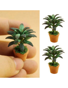 1/12 Dollhouse Miniatures Green Plant In Pot Potted Tree Mini Plants/Doll Houses by Ebay Seller