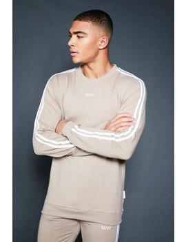 Crew Sweater With Sleeve Sports Tape by Boohoo Man