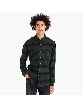 Wallace & Barnes Heavyweight Flannel Shirt In Stable Plaid by J.Crew