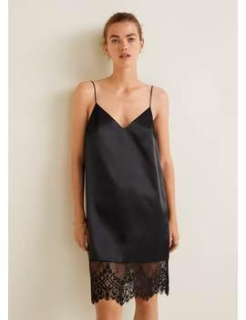 Короткое платье с кружевом by Mango