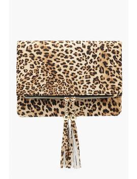 Leopard Double Tassel Foldover Clutch by Boohoo