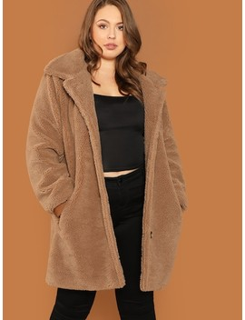 Plus Button Up Teddy Coat by Shein