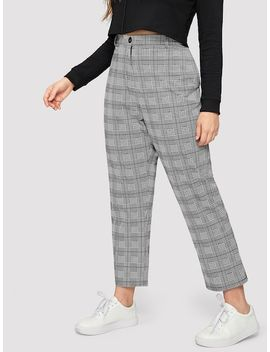 Plus Plaid Pocket Side Pants by Sheinside