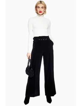 Covered Belt Wide Trousers by Topshop