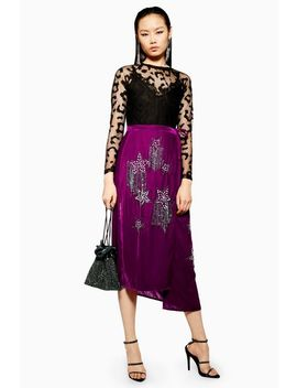 Embellished Velvet Midi Skirt by Topshop