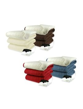 Biddeford Blankets® Comfort Knit Heated Queen Blanket With Sherpa Back In Denim by Bed Bath And Beyond